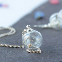 Mini Glass Dandelion Seed Necklace in silver with your choice of chain