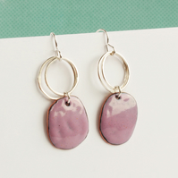 LIlac pebble shaped enamel earring with silver scribble hoops