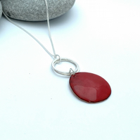 Red Pebble Enamel Necklace