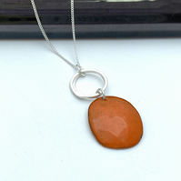 Orange Pebble Necklace