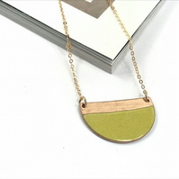 Mustard yellow half-moon enamel necklace