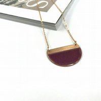 Raspberry block contrast half moon necklace