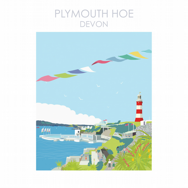 PLYMOUTH HOE DEVON Digital Art Travel Print Poster Designed by Betty Boyns
