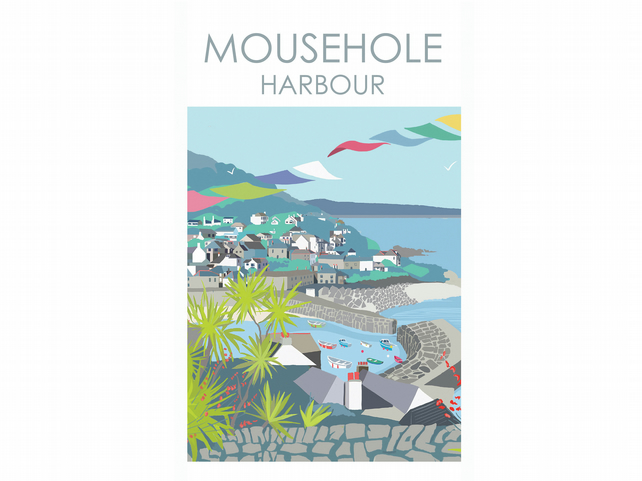 MOUSEHOLE HARBOUR CORNWALL Digital Art Travel Print Poster Designed by Betty Boy