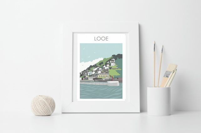 LOOE HARBOUR CORNWALL Framed Digital Art Travel Print Poster Designed by Betty B