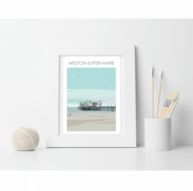 Weston-Super-Mare Digital Art Travel Print Poster Designed by Betty Boyns