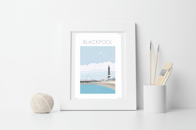 BLACKPOOL FRAMED Art Print, Illustration, Artist Print by Betty Boyns, Harbour,