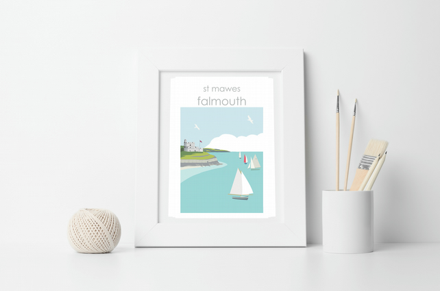ST MAWES FRAMED Art Print, Illustration, autumn, Harbour, Seaside, Beach, Sea, C