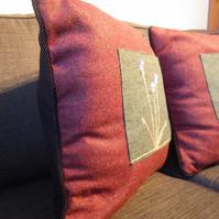 Two cushion covers made from Tweed, 100% wool fabric
