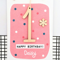 Personalised Age 1 -4 Birthday Card - Keepsake Card, First Birthday, 1st Birthda