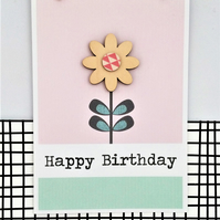 Birthday Card - Handmade Card - Happy Birthday - Flower