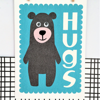 Bear Hugs - Greetings Card - Bear Card - Googly Eyes
