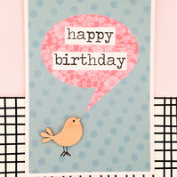 Birthday Card - Bird Card - Handmade Card - Happy Birthday