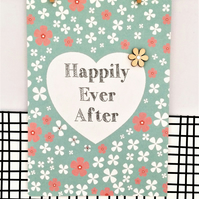 Wedding Card - Happily Ever After - Handmade Card - Luxury Card - Wildflower See