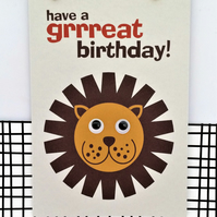 Lion Birthday Card - Grrreat Birthday - Happy Birthday - Google Eyes - Fun Card