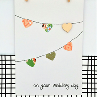 Wedding Day Bunting Card - Handmade Card - Paper Bunting - On your wedding day -