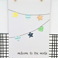 Baby Bunting Card - New Baby Boy - Handmade Card - Paper Bunting - Welcome to th