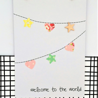 New Baby Card - Baby Girl Card - Paper Bunting - Handmade Card - Welcome to the