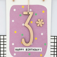 Age 3 Birthday Card - Keepsake Card, Handmade Card, Age 3, 3rd Birthday, Kids Ca