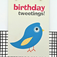 Bird Birthday Card - Birthday Tweetings - Happy Birthday - Blue Bird - Fun Card