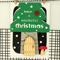 Fairy Door Christmas Card - Luxury Handmade Card, Keepsake Card