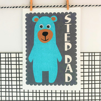 Step Dad Card - Greetings Card - Father's Day Card - Bear Card
