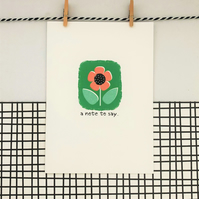 A Note to Say Card - Wildflower Seed Card - Handmade Card - Floral Card