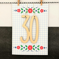 30th Birthday Card - Keepsake Card, Handmade Luxury Card, Cards for her