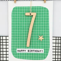 Age 7 Birthday Card - Keepsake Card, Age 7, Handmade Card, 7th Birthday, Greetin