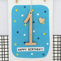 First Birthday Age 1 Card