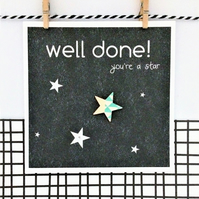 Congratulations Card - Handmade Card - Well Done! - You're A Star - Greetings Ca