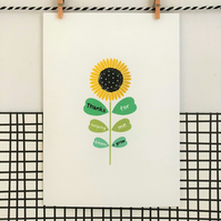 Teacher Card - Thanks for helping me bloom and grow - Wildflower Seed Card - Han