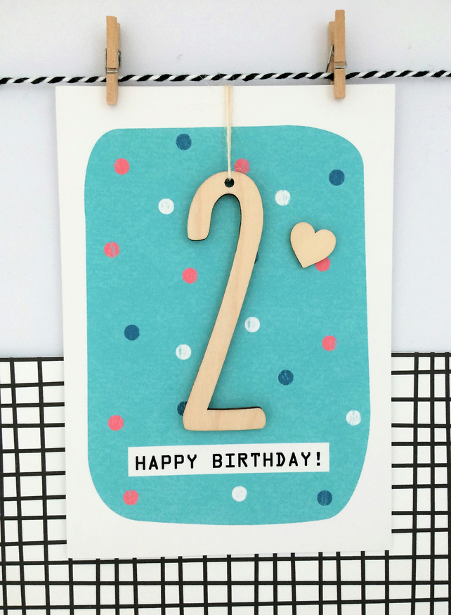 Age 2 Birthday Card - Keepsake Card, Kids Card, Age 2, 2nd Birthday, Happy Birth