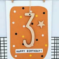 Age 3 Birthday Card - Handmade Card, Keepsake Card, Kids Card, Age 3, 3rd Birthd