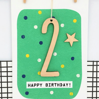 Age 2 Birthday Card - Handmade Card, Keepsake Card, Kids Card, Age 2, 2nd Birthd