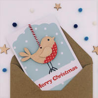 Robin Christmas Card - Luxury Handmade Card, Keepsake Card