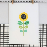 Happy Birthday to you card - Sunflower Seed Card - Handmade Card - Floral Card