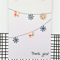 Thank You Bunting Card - Handmade Card - Thank you card - Paper Bunting - Greeti