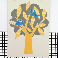 Birthday Card - Blue Birds - Greetings Card - Googly Eyes - Cute Card - Fun Card
