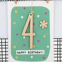 Age 4 Birthday Card - Kids Card, Keepsake Card, Happy Birthday, Handmade Card, A