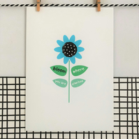 Bloom where you are planted card - Wildflower Seed Card - Handmade Card - Card f
