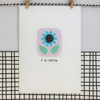 Sorry Card - Wildflower Seed Card - Handmade Card - Floral Card