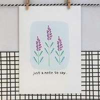 Just a note to say... Card - Wildflower Seed Card - Handmade Card - Floral Card