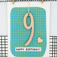 Age 9 Birthday Card - Keepsake Card, Handmade Luxury Card, Happy Birthday, 9th B