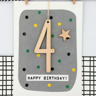 Age 4 Birthday Card - Keepsake Card, Handmade Card, Kids Card, Happy Birthday, A