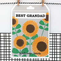 Best Grandad Card - Sunflower Seeds - Father's Day - Birthday - Greetings Card