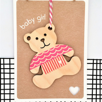 Baby Girl Card - Luxury Handmade Card - New Baby - Welcome to the World - It's a