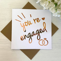 """""""You're Engaged"""" Foil Engagement Card, Congratulations."""