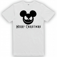 Crafty Graphics Men's Jack Skeleton Merry Christmas White & Black T-Shirt