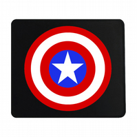 Crafty Graphics Captain America Inspired Small Black Mouse Mat - 200mm x 240mm